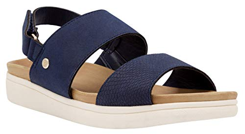 LONDON FOG Womens Casual Flat Sandals Comfort Sandals with Adjustable Strap/Libby Navy 8 M US