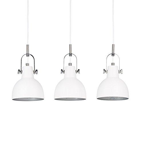 Relaxdays Pendelleuchte 3-flammig, dekorative Schirme, höhenverstellbar, H x B x T: 156 x 55 x 9 cm, weiß