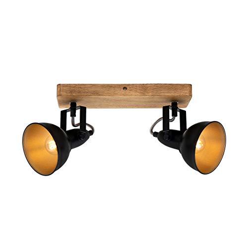 Briloner Leuchten - Faretto, lampada da parete retrò, vintage, girevole e inclinabile, 2x E14, metallo-legno, nero-oro, 280x110x157mm (LxPxH)