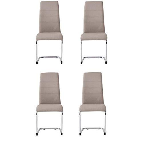 JANE Juego de 4 sillas - Pata cromada - Tela gris - L 42 x P 56 x H 99 cm