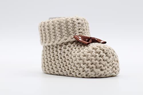 Weiche Babyschuhe gestrickt, Babychucks Unisex Strickschuhe, warme gehäkelte Stricksocken für Neugeborene 0-6M (Beige)