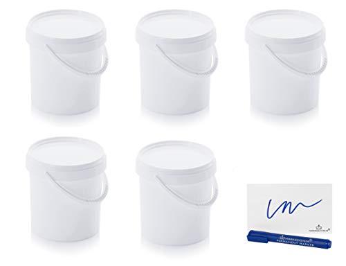 MARKESYSTEM Cubo HERMÉTICO Catering Pack de 5 X 1,18 litros - Cubos de Plástico con Tapa - Contenedores Apilables - Envasar Alimentos, Líquidos y Pinturas - Polipropileno Blanco + Kit Etiquetado