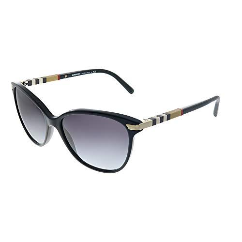 Burberry Unisex BE4216 Sonnenbrille, Schwarz (Gestell: schwarz, Gläser: grau-verlauf 30018G), Large (Herstellergröße: 57)