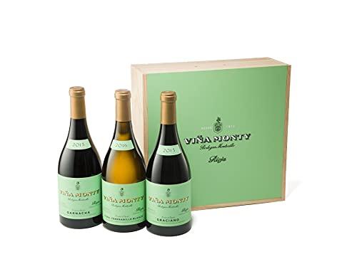 Viña Monty - Caja de madera con 3 botellas de Viña Monty Graciano, Garnacha y Viura 2250 ml