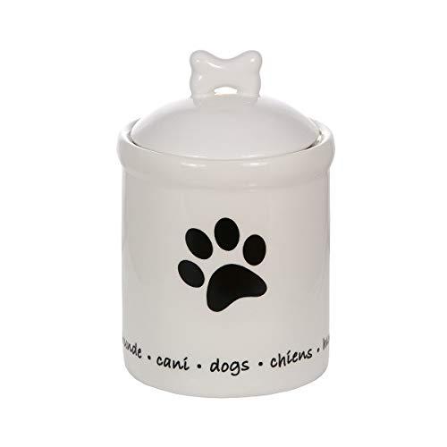 SPOTTED DOG GIFT COMPANY Vorratsdose mit Deckel, Küchen Aufbewahrungsdose Keramik, Hunde Leckerlibehälter mit Pfotenabdrücken Geschenk Hundeliebhaber Hundebesitzer