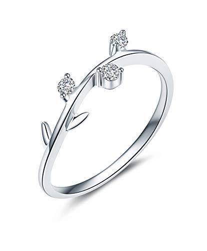 KnSam 18K Oro Blanco Anillo, Anillo de Propuesta Árbol de Aceitunas Rama, Diamante H, Color Plata - Talla 27