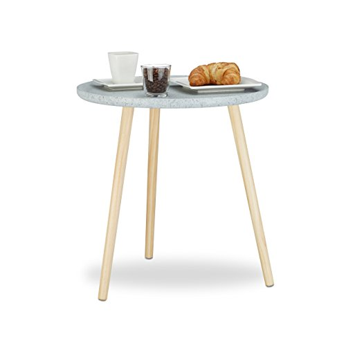 Relaxdays Table d'appoint ronde bord concave table basse console guéridon gris service HxlxP: 49 x 48 x 48 cm, gris