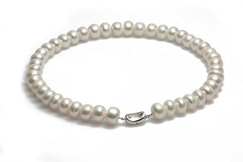 Schmuckwilli echte Perlen Süßwasserperlen Perlenkette weiß mit 925 sterling Silber Verschluß 45cm 11-12mm dsk5006-45