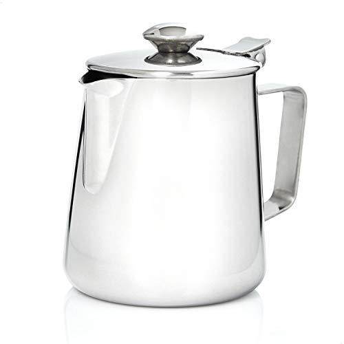 Kerafactum Kaffeekännchen Kännchen für Kaffee aus Edelstahl | Milchkännchen Sahnekännchen Teekanne Kaffeekanne | Sahne Kanne mit Deckel für Milch Tee Kaffee| Pitcher Milk can Henkelkanne 600 ml