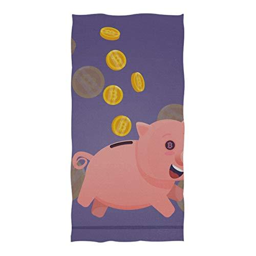 DUKAI Pool- und Strandtücher, Sparschwein-Goldmünzen Bitcoin Smiling Extra-Large (74 × 37 Zoll) Super saugfähiges, schnell trocknendes, kompaktes, kühles Reisetuch