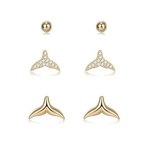 Guang Plata de ley 925 para las mujeres Full Clear CZ Fish Tail & Round Tiny Lindo Pendientes Conjuntos de lujo oro Stud Pendientes Joyería