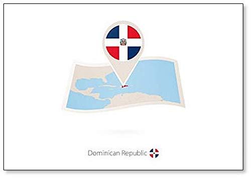 Kühlschrankmagnet, Motiv Dominikanische Republik mit Flagge der Dominikanischen Republik