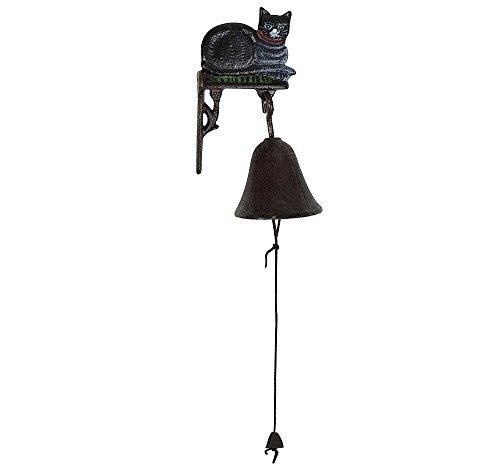 zeitzone Türglocke Schwarze Katze Glocke Gusseisen Rustikal Antik-Stil Braun