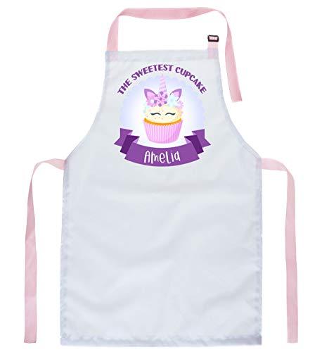Ferocity Personalisierter Kinderschürze Kind Malschürze Kunstkittel Kochschürze Apron Werkschürze süßeste Cupcake mit Name [074]