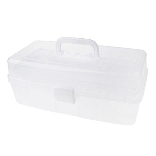 Sharplace 3 Stöckige Aufbewahrungsbox Sortierbox aus Kunststoff für die Organisation von Nähfäden, Spulen, Perlen, Beautyzubehör, Nagellack, Schmuck, Handwerkzubehör - klar
