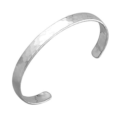TreasureBay Pulsera de plata de ley 925 martillada para hombres y mujeres, 25,6 g