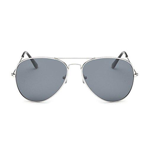 QHGstore Marco unisex cl¨¢sico Hombres / Mujeres Marco del metal aviador gafas de sol retras Recorrido al aire libre Eyewear de la lente de la astilla&gris