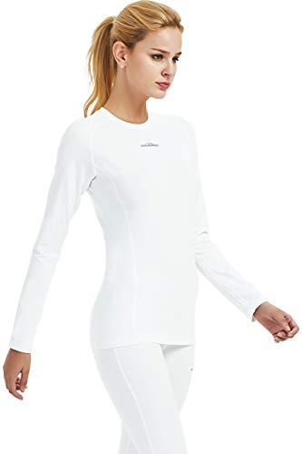 COOLOMG Damen Kompressionsshirt Langarm Funktionsshirt Thermowäsche Winter Baselayer Shirt Weiß S