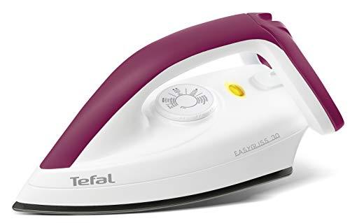 Tefal Trockenbügeleisen FS4030 Easygliss | 1200W | Durilium Bügelsohlen-Technologie | Thermostat | Bereitschaftsleuchte | Extralanges Netzkabel | Weiß/ Dunkelrot