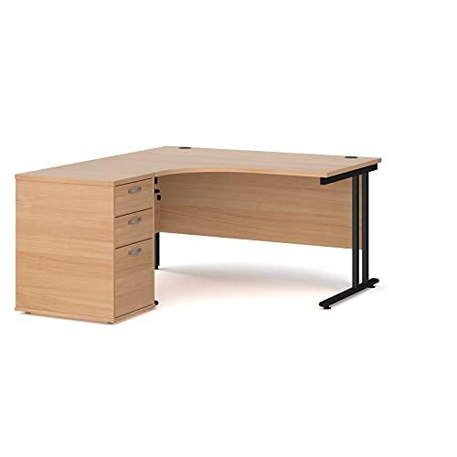 Maestro - Juego de 25 escritorios ergonómicos para mano izquierda y 3 cajones con patas voladizas, haya, 140 x 120 cm