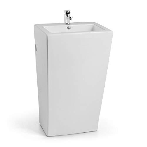 Besoa Martinique Stand-Waschbecken, Keramik-Waschbecken, Wandanbringung, modernes Design, einfache Reinigung durch Glatte Oberflächen, weiß