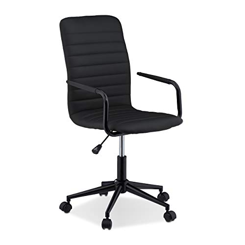 Relaxdays Bürostuhl höhenverstellbar, ergonomisch, Rollen, Gasdruckfeder, Kunstleder, 120 kg, Schreibtischstuhl, schwarz, 1 Stück
