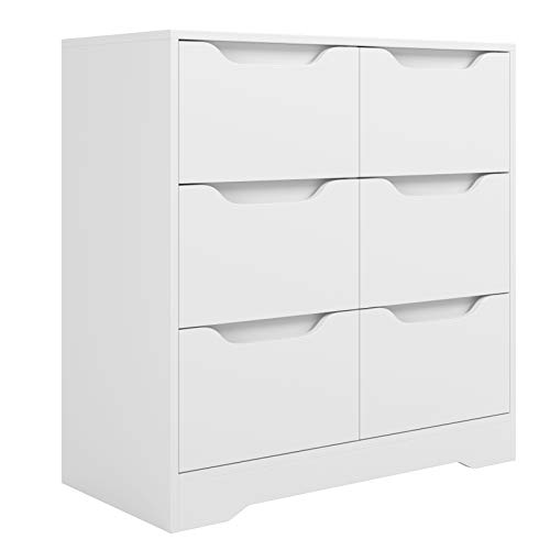 HOMECHO 6 Drawer Double Dresser, Industrial Wide Storage Dresser with Cutout Handle, Wood Chest of Drawers, Modern Clothes Dresser Organizer for Bedroom, Living Room, White