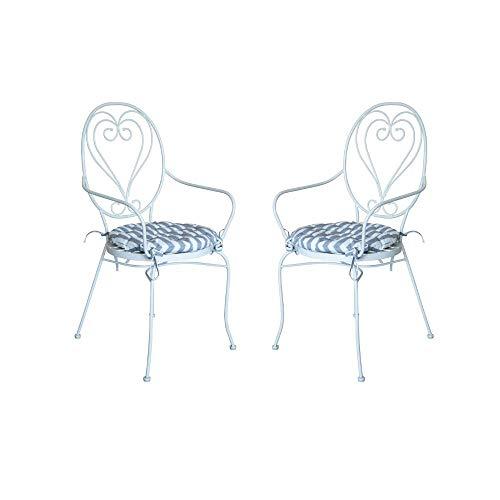 PiuShopping - Juego de 2 sillones de jardín de acero barnizado con cojín, sillas redondas de exterior, diseño bistrot, económico 53 x 99h