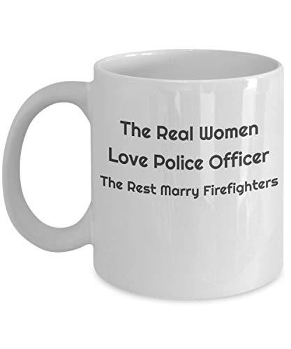 Taza Real Women Love Police Officer - Divertida y única idea de regalo de policía para el cumplimiento de la ley para mamá, ella, cumpleaños, policía, día de la madre - Gran taza de té de café de cerá