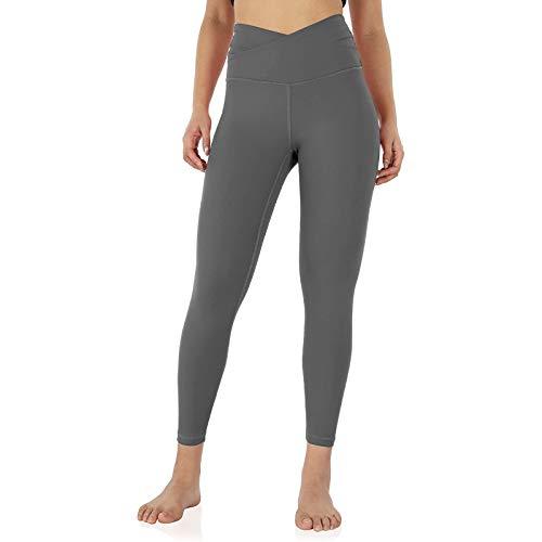 Whycat Women's Cross Waist 7/8 Yoga Leggings Workout Running Tights Yoga Capris Pants High Waist Tummy Control Fitness Workout Running Tights(Grey,L)