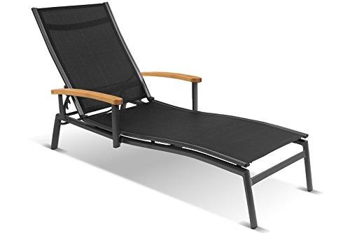Hartman Alice Sonnenliege in edlem Xerix-Black, solides Aluminiumgestell, Sitzfläche aus Textilene, ca. 179 x 75,5 x 94 cm, Kopfteil verstellbar, helle Teakholz-Armlehnen, Bodenschoner, wetterfest