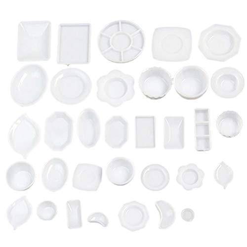 FADACAI 2 Sets / 66 Stks Miniatuur Servies oll Keuken Mini Acryl Servies Miniaturen Cup Schaal Speelgoed Baby Kinderen Gift