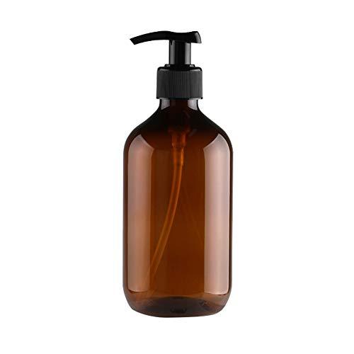RIsxffp 500ml Durable Botella Recargable Presión Bomba Champú Loción Maquillaje Dispensador de líquidos Brown 500ml