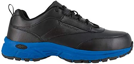 Reebok Mens Black Blue Leather Athletic Work Oxford Ateron Steel Toe 13 W product image