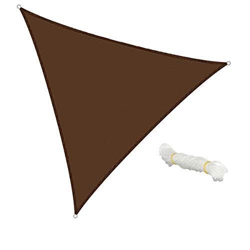 ECD Germany Voile d'ombrage - Triangulaire 5x5x5m - Marron - HDPE - avec protection UV - Câble de tension compris - Auvent de protection pour balcon et terrasse de jardin