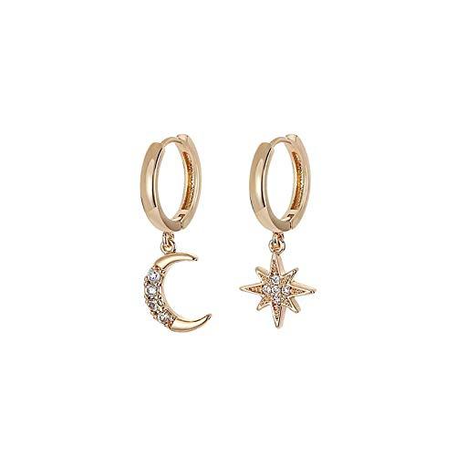 Pendientes de aro asimétricos de plata de ley 925 con circonita cúbica brillante, diseño de estrella, luna, para mujeres y niñas, color dorado y plateado, joyería de fiesta, regalos S-E1360