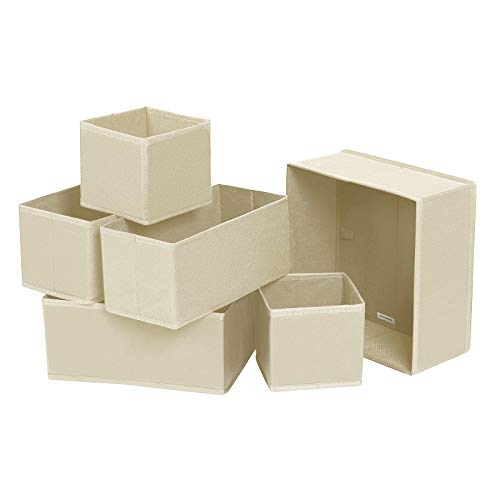 SONGMICS Aufbewahrungsbox für Schublade, 6er Set, Unterwäsche-Organizer, Schubladen-Organizer, Faltbare Stoffbox für Socken, Unterwäsche, BHS, Krawatten und Schals, beige RDZ06M