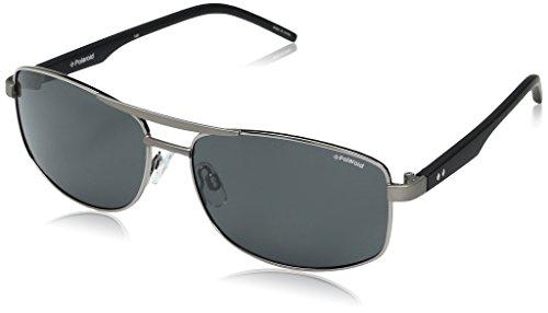 Polaroid Sunglasses Men's Pld2040s Rectangular, Ruthenium Black/Gray...