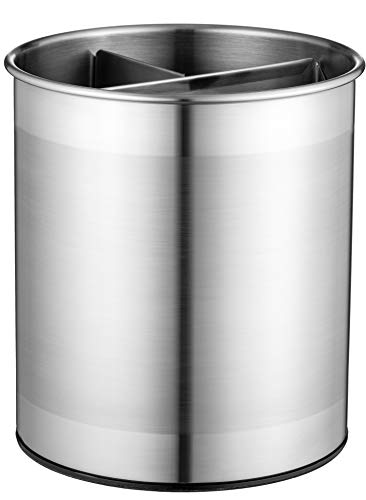 Extra-Large Stainless Steel Kitchen Utensil Holder - 360° Rotating Utensil Caddy - Weighted Base for Stability - Utensil Crock With Removable Divider for Easy Cleaning - Countertop Utensil Organizer.