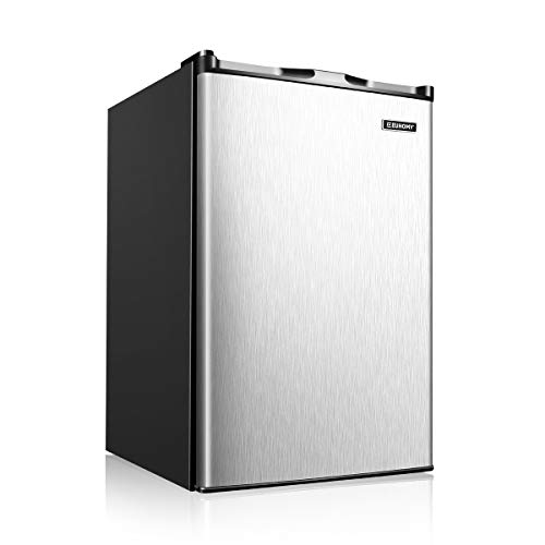 Euhomy Upright freezer, 3.0 Cubic Feet, Single Door Compact Mini Freezer with Reversible Stainless Steel Door, Small freezer for Home/Dorms/Apartment/Office (Silver)