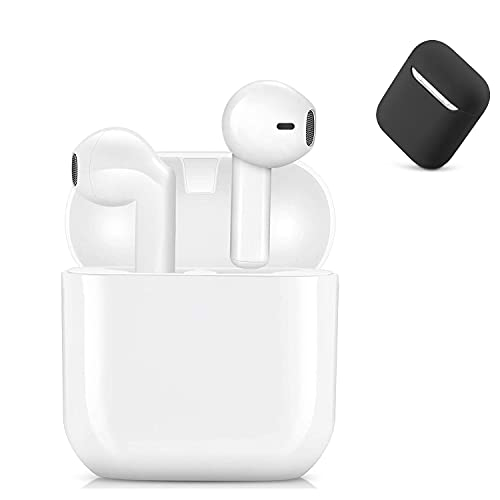 Wireless Earbuds, TWS Bluetooth 5.0 Headphones【with airpod Charging Case Silicone Protective Sleeve】 IPX5 Waterproof Sport Earbuds Built-in Binaural Mic AirBuds for iPhone/Android (Whit)