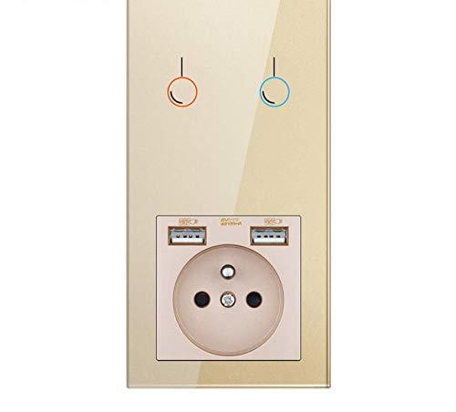 Toma De Corriente, Con Usb, Panel De Cristal De InstalacióN Vertical, Toma 172 * 86, Con Interruptor De Luz 1/2 / 3gang-2g1w De Oro