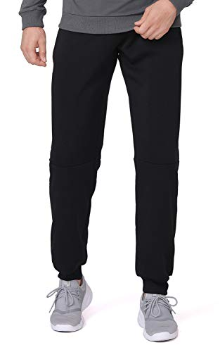 CAMEL CROWN Mens Fleece Jogging Pants Sports Trousers Casual Sweatpants Gym Running Lounging Training Outdoor Workout Black