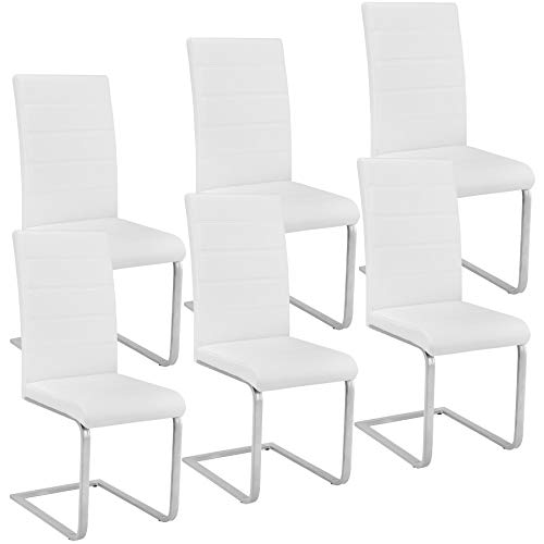 TecTake 6 Esszimmerstühle Schwingstuhl Set, Kunstleder - Diverse Farben - (Weiß)