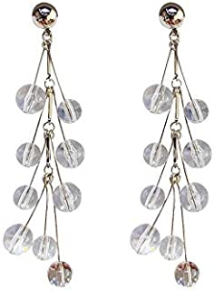 Fashion Earring Silver Needle Transparent Bead Earrings Atmospheric Crystal Tassel Ear Pendent Individualized Fashion Ear Ornaments Pendant jewelry (Color : Crystal)