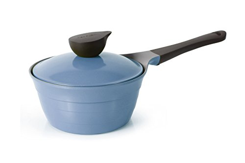 Neoflam Eela 1.9qt Nonstick Ceramic Coated Saucepan with Integrated Steam Vent Ceramic Lid, Heat Resistant Bakelite Handle, Saute Pan, Soup Boiling Melting Pot, Cookware for Pasta, PFOA-Free