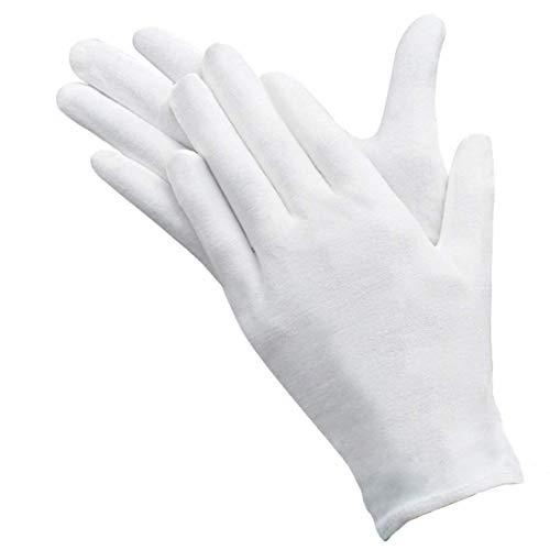 Lawei 24 Paar Baumwollhandschuhe Weich Handschuhe Zwirnhandschuhe Dehnbar Groß Silber Inspektionshandschuhe - Weiß, 23,5cm