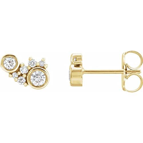 Pendientes de oro amarillo de 14 quilates, 0,25 quilates, con parte trasera de fricción incluida, pulido de 0,25 quilates, diamantes dispersos, regalo para mujer