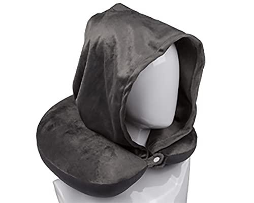 Kamaca Almohada cervical con capucha de felpa suave, botón de presión y capucha, uso universal, apoyo y práctico para viajes (antracita con capucha)