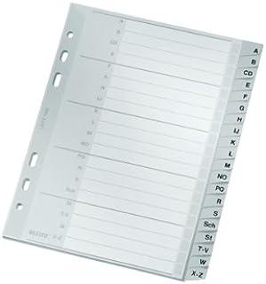 Leitz Intercalaires A5 Touches A-Z, 20 Feuilles, Extra-Large, Gris, Onglets Renforcés en Plastique Résistant avec Table de...